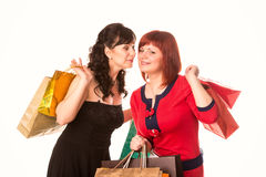 Beautiful happy girls with many shopping bags. Shopping concept. Royalty Free Stock Image