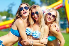 Beautiful happy girls on summer party. Three beautiful happy girls on summer party Stock Photo