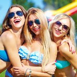 Beautiful happy girls on summer party. Three beautiful happy girls on summer party Royalty Free Stock Photo