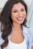 Beautiful Happy Hispanic Woman Perfect Teeth Smiling stock image