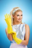 Beautiful happy housewife Royalty Free Stock Photography