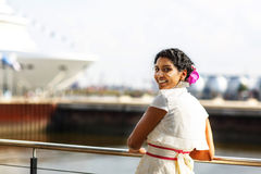 Beautiful happy indian bride in harbor Royalty Free Stock Photography