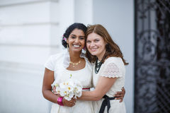 Beautiful happy indian bride and her friend Stock Images