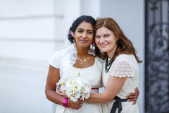 Beautiful happy indian bride and her girl  friend Stock Images