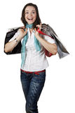 Beautiful, happy and laughing girl out shopping. Stock Photography