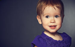 Beautiful happy little girl in a purple dress Royalty Free Stock Photography
