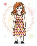 Beautiful happy little red-haired girl in stylish casual clothes. Posing on colorful backdrop with romantic hearts. Vector illustration of attractive kid Stock Photo