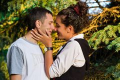 Beautiful happy love couple kissing Royalty Free Stock Photo
