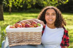 Mixed Race Female Teenager Leaning on Tractor Picking Apples Stock Photography