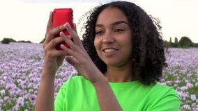 African American biracial girl teenager female young woman in a field of pink poppy flowers taking photographs on her smart phon. Beautiful, happy, mixed race stock video footage