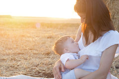 Beautiful happy mother breastfeeding her baby boy outdoor. Mother breastfeeding in a field at sunset in nature. Healthy eating Royalty Free Stock Photography