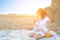 Beautiful happy mother breastfeeding her baby boy outdoor. Mother breastfeeding in a field at sunset in nature. Healthy eating Stock Image