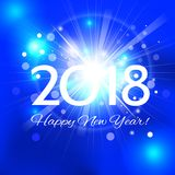 Beautiful Happy New Year 2018 background. Beautiful Christmas background with a bright flash of light and the words Happy New Year 2018 royalty free illustration