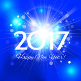 Beautiful Happy New Year 2017 background. Beautiful Christmas background with a bright flash of light and the words Happy New Year 2017 stock illustration