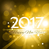 Beautiful Happy New Year 2017 background. Beautiful golden Christmas background with a bright flash of light and the words Happy New Year 2017 vector illustration
