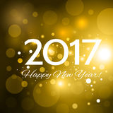 Beautiful Happy New Year 2017 background. Beautiful golden Christmas background with a bright flash of light and the words Happy New Year 2017 royalty free illustration