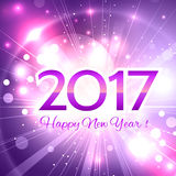 Beautiful  Happy New Year 2017 background. Beautiful pink Christmas background with a bright flash of light and the words Happy New Year 2017 Royalty Free Stock Photography