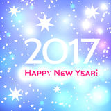 Beautiful  Happy New Year 2017 background. Beautiful pink Christmas background with a bright flash of light and the words Happy New Year 2017 Stock Photo