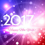 Beautiful Happy New Year 2017 background. Beautiful pink Christmas background with a bright flash of light and the words Happy New Year 2017 stock illustration