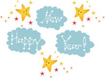 Beautiful happy new year card with lettering on clouds and cute stars. Stock Photos