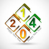 Beautiful happy new year stylish circle 2014 Royalty Free Stock Image