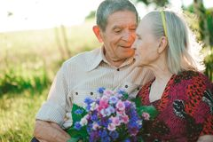 Beautiful happy old people sitting in the park stock image