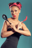 Beautiful happy pin-up style housewife Stock Photos