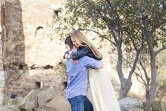 Beautiful happy smiling couple embracing Stock Photos