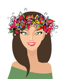Beautiful happy smiling girl with wreath. Image of Beautiful happy smiling girl with wreath Royalty Free Stock Photos