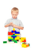 Child builds constructor Royalty Free Stock Photography