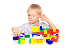 Child builds constructor Royalty Free Stock Photos