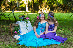 Beautiful happy smiling sisters twins Stock Photos