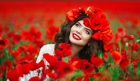 Free Beautiful Happy Smiling Teen Girl Portrait With Red Flowers On H Stock Image - 84868181