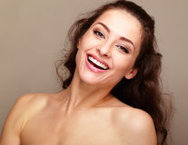 Beautiful happy smiling woman looking and laughing Stock Photos