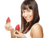 Beautiful happy smiling woman with strawberry Royalty Free Stock Images