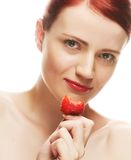 Beautiful happy smiling woman with strawberry Stock Photos