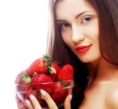 Beautiful happy smiling woman with strawberry Royalty Free Stock Image