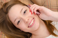 Teenage girl talking on mobile phone Royalty Free Stock Photography