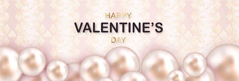 Beautiful Happy Valentines Day lettering banner with 3d sea Pearls. Fashion card. Stylish animal skin background. Beautiful Happy Valentines Day lettering banner vector illustration