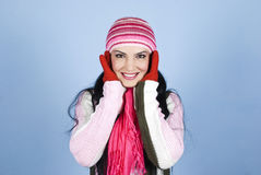 Beautiful happy winter woman Stock Photography