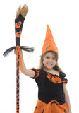 Beautiful Happy Witch Girl With Broom Royalty Free Stock Photo