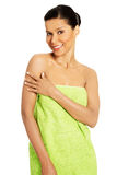 Beautiful happy woman after bath or spa Stock Images