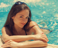 Beautiful happy woman bathing Royalty Free Stock Photography