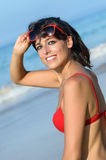 Beautiful happy woman on beach holidays Royalty Free Stock Photography