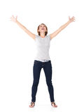 Beautiful Happy Woman Celebrating Success Being A Winner Stock Photo