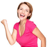 Beautiful happy woman celebrating success Royalty Free Stock Photography