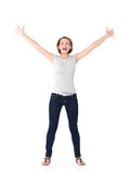 Beautiful happy woman celebrating success  being a winner Royalty Free Stock Photos