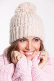 Beautiful happy woman in the cold stock photo