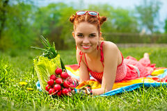 Beautiful happy woman with colourful vegetables Stock Photography