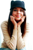Beautiful happy woman in cute hat Royalty Free Stock Photos